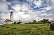 Green Greeting Cards Prints - Lighthouse in the clouds Print by Jon Glaser