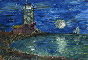 Printmaking Prints - Lighthouse in the moonlight on the sea with sail boats. ACEO Print by Cathy Peterson