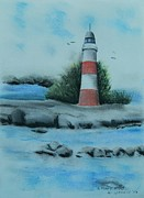 Sea Birds Pastels Framed Prints - Lighthouse Framed Print by Kenneth Harris