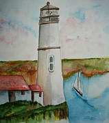 Waterside Paintings - Lighthouse Long Ago by Elaine Duras