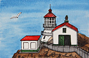 Seagull Drawings Metal Prints - Lighthouse Metal Print by Masha Batkova