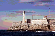 Cuba Mixed Media - Lighthouse Morro Castle Havana by Charles Shoup