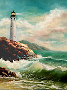 Lighthouse Oil Paintings - Lighthouse on the edge of the sea  by Laurine Baumgart