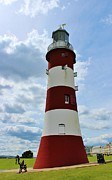 Theresa Selley Metal Prints - Lighthouse on The Hoe Metal Print by Theresa Selley