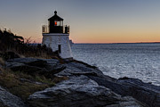 Ri Lighthouse Prints - Lighthouse On The Rocks at Castle Hill Print by Andrew Pacheco