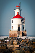 Lake Superior Prints - Lighthouse On The Rocks Print by Shutter Happens Photography
