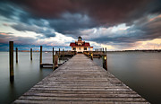 Clouds Acrylic Prints - Lighthouse - Outer Banks NC Manteo Lighthouse Roanoke Marshes Acrylic Print by Dave Allen