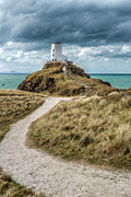 North Wales Digital Art Acrylic Prints - Lighthouse Path Acrylic Print by Adrian Evans
