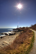 Maine Lighthouses Framed Prints - Lighthouse Path Framed Print by Joann Vitali