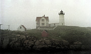 Nubble Lighthouse Mixed Media Framed Prints - Lighthouse - Photo Watercolor Framed Print by Frank Romeo