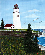 Staircase Painting Originals - Lighthouse Point by Barbara Griffin