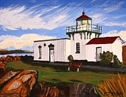 Steer Paintings - Lighthouse Point No Point by Vicki Maheu