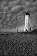 Guiding Light Prints - Lighthouse Point Park BW Print by Susan Candelario