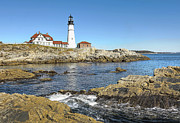Mixed Media Photos - Lighthouse Portland Maine by James Steele