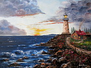 Lee Piper Art Prints - LIghthouse Road At Sunset Print by Lee Piper