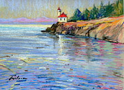 San Juan Paintings - Lighthouse San Juan Island by Ron Wilson