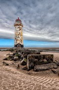 Dee Estuary Posters - Lighthouse Steps Poster by Adrian Evans