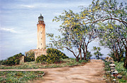 Beautiful Scenery Painting Posters - Lighthouse Poster by Victor Collector