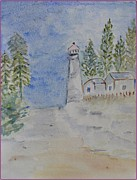 Celebration Art Print Painting Framed Prints - Lighthouse Way Framed Print by Sonali Gangane
