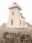 Warm Light Prints - Lighthouse with Lobster Trap PEI Print by Edward Fielding