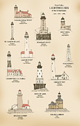 Lighthouse Drawings Framed Prints - Lighthouses of the Great Lakes Framed Print by J A Tilley