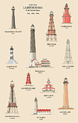 Nautical Chart Prints - Lighthouses of the Gulf Coast Print by J A Tilley