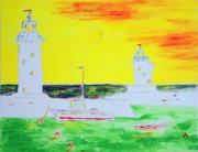 Richard W Linford Painting Posters - Lighthouses True Trinity Poster by Richard W Linford