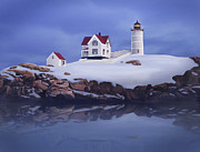 New England Lighthouse Paintings - Lighting of the Nubble Lighthouse by James Charles