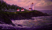 Coastal Forests Painting Posters - Lightkeepers House at Heceta Head Poster by Glenna McRae