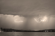 Storm Prints Photo Prints - Lightning and Sepia Rain Over Rocky Mountain Foothills Print by James Bo Insogna