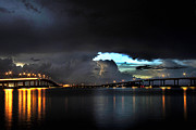 Storm Photographs Posters - Lightning and the Cerulean Sky Poster by Doug Heslep