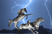Lightning Storms Photo Prints - Lightning At Horse World BW Color Print Print by James Bo Insogna