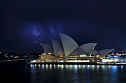 Lightning Strike Prints - Lightning behind The Opera House Print by Kaye Menner