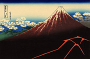 Summit Painting Posters - Lightning Below the Summit Poster by Katsushika Hokusai Art Reproduction by Roz Barron Abellera