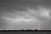 Storm Prints Photo Prints - Lightning Bolting Across the Sky BWSC Print by James Bo Insogna