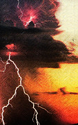 Lightning Wall Art Mixed Media Prints - Lightning Does the Work Print by Michael Knight