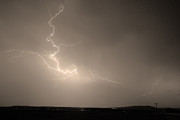 Storm Prints Photo Prints - Lightning Goes Boom In The Middle of The Night Sepia Print by James Bo Insogna
