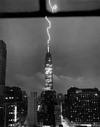 Continent Prints - Lightning Hits Empire State Print by Underwood Archives