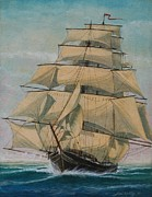Old Sailing Ship Paintings - Lightning by J W Kelly