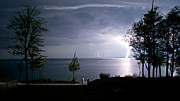 Lightning On Lake Michigan At Night Print by Mary Lee Dereske