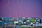Thunderstorm Framed Prints - Lightning Over LBI Framed Print by Mark Miller