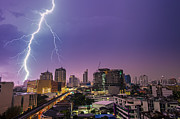 Igniting Prints - Lightning over the city Print by Fototrav Print