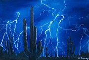 Storm Prints Painting Framed Prints - Lightning  over the Sonoran Framed Print by Sharon Duguay