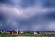 Lightning Storm And The Big Red Barn Print by James Bo Insogna