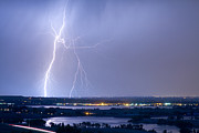 Lightning Gifts Posters - Lightning Strike Boulder Reservoir and Coot Lake Poster by James Bo Insogna