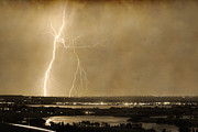 The Lightning Man Posters - Lightning Strike Boulder Reservoir and Coot Lake Sepia 2 Poster by James Bo Insogna