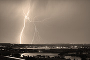 Storm Prints Posters - Lightning Strike Boulder Reservoir and Coot Lake Sepia Poster by James Bo Insogna