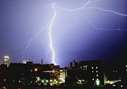 Woodman Prints - Lightning strike in Omaha Print by Jetson Nguyen