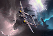 Army Air Corps Posters - Lightning Strike Poster by Peter Chilelli