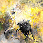 Bullfight Paintings - Lightning Strikes bis by Miki De Goodaboom
